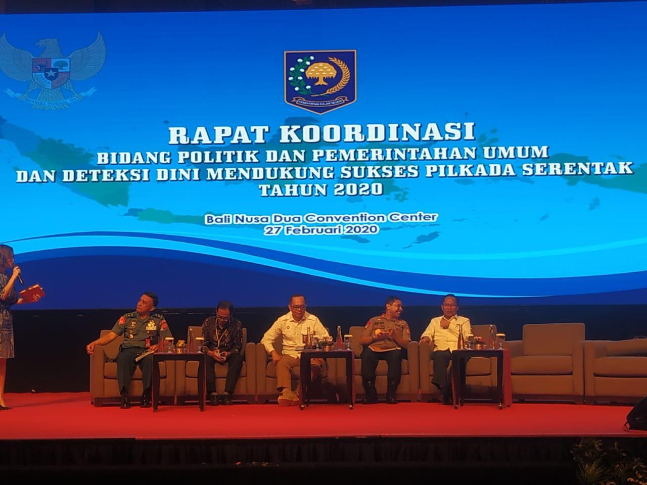Rapat Koordinasi Bidang Politik dan Pemerintahan Umum dan Deteksi Dini Mendukung Sukses Pilkada Serentak Tahun 2020